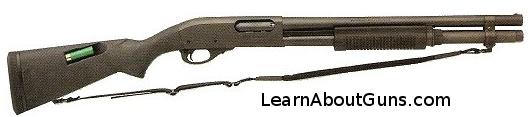A shotgun, the Remington 870 XCS Marine Magnum